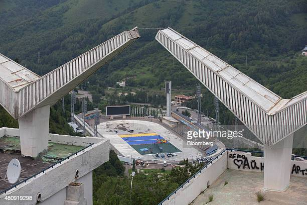 Old Soviet era concrete viewing platforms sit on the hillside above the Medeo sports stadium in Almaty Kazakhstan on Saturday June 27 2015 Almaty...