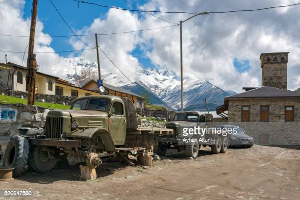 Old soviet-made truck parked in Mestia, the main settlement in Georgia's Svaneti region