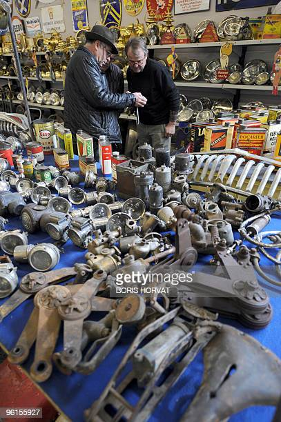 Old spare parts are displayed at Paris Retromobile show on January 22 2010 The fair takes place from January 22 to January 31 presenting vintage cars...