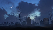 Abandoned spooky graveyard with old decaying tombstones at dark foggy night with half moon in sky. Halloween horror 3D illustration from my own 3D rendering file.