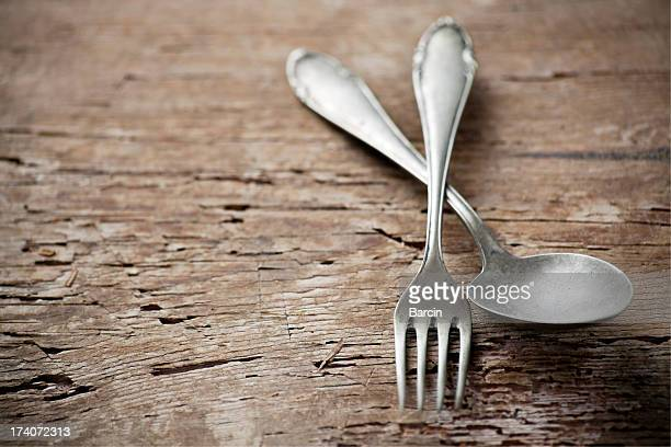 Old spoon and fork