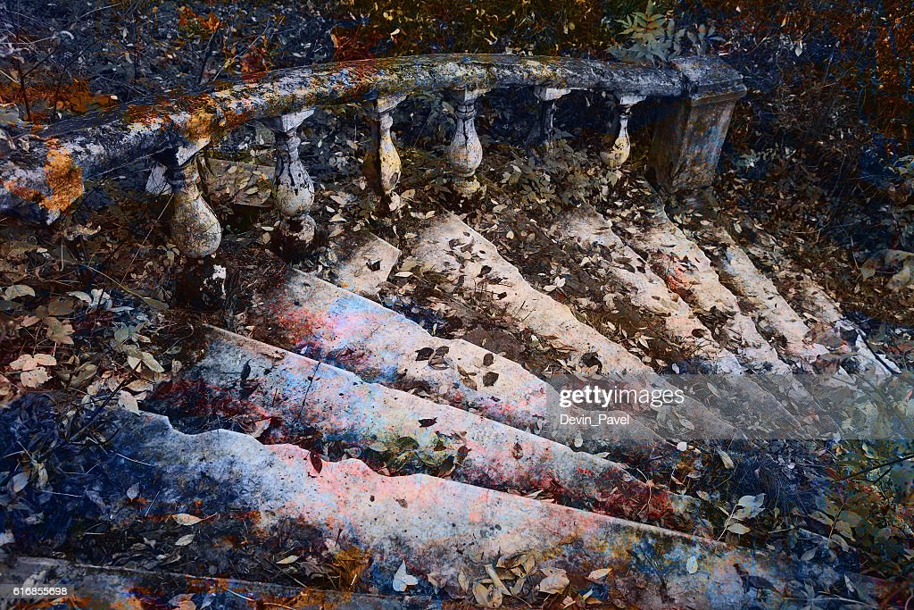 Old staircase in a fantastic art treatment : Stock Photo