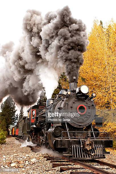 Old Steam Engine and autumn trees