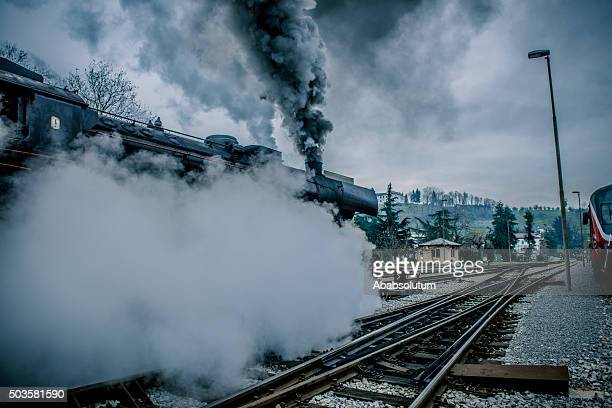 Old Steam Locomotive Leaving Nova Gorica, Slovenia, Europe