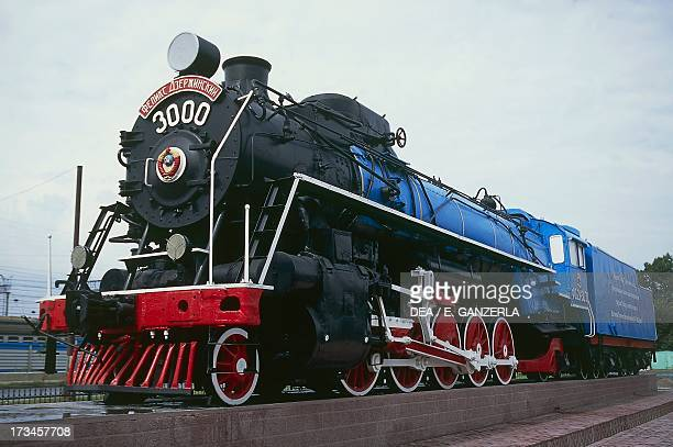 Old steam locomotive now a monument to the TransSiberian railway line in a square in Novosibirsk Russia
