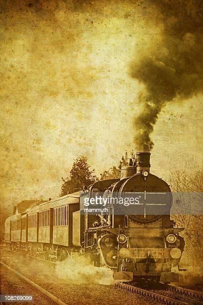 old steam train - vintage photo