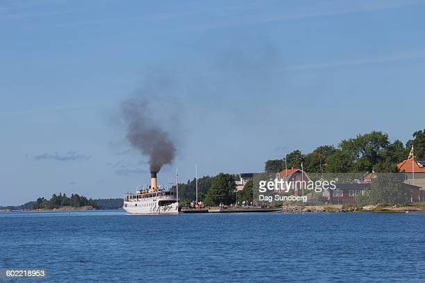 Old steamship in Furusund in Stockholm archipelago