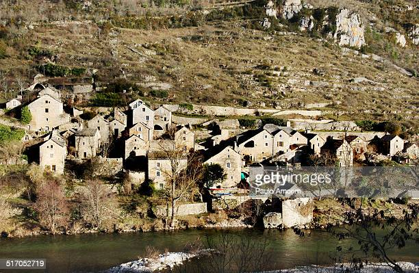 Old stone houses at  mountain in France