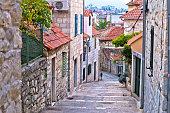 Old stone street of Split historic city, Dalmatia, Croatia