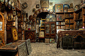 Old store with Russian icons -HDR