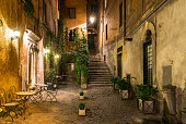 Night view of old street in Rome, Italy