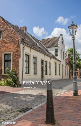 Old street in the center of Leer : Stock Photo