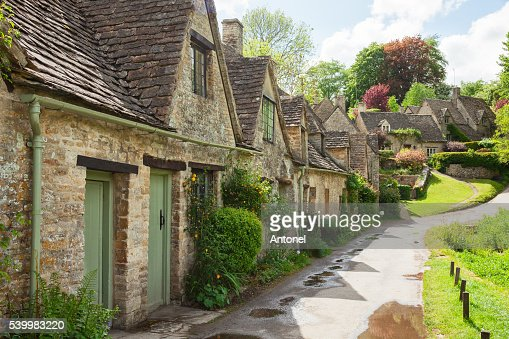 Old street with traditional cottages. : Stock Photo