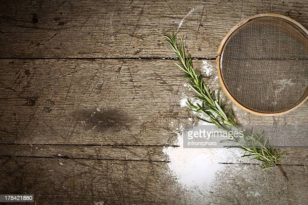 Old Style Baking - still life with old-fashioned sieve