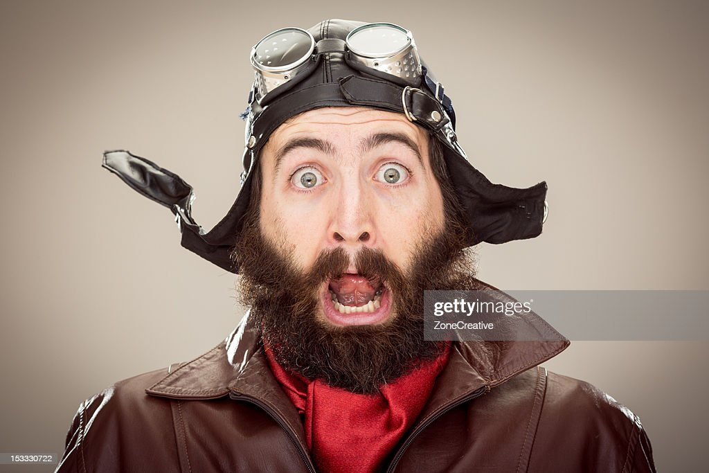 old style scared pilot portrait : Stock Photo