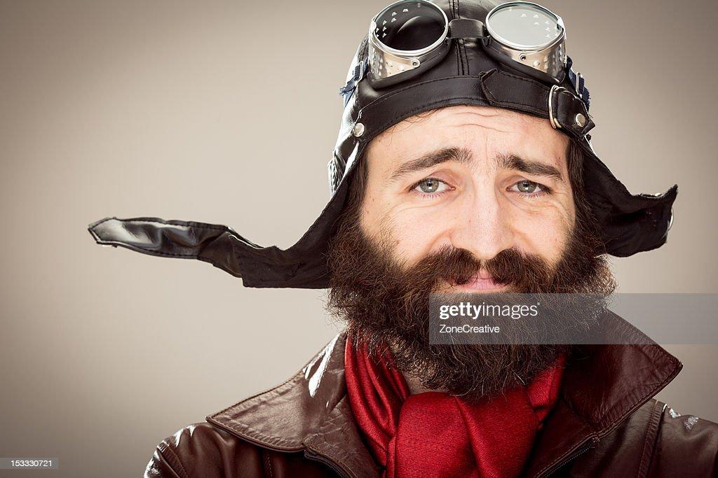 old style smiling pilot portrait