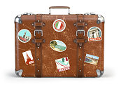 Old suitcase beggage with travel stickers isolated on white background. 3d illustration