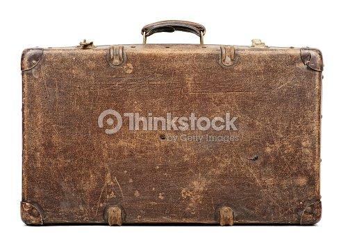 Old suitcase isolated on white background : Stock Photo