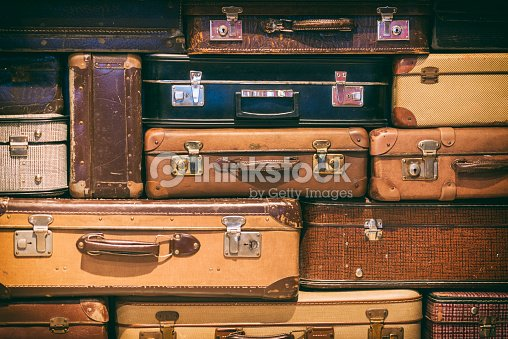 Old Suitcases Stacked : Stock Photo