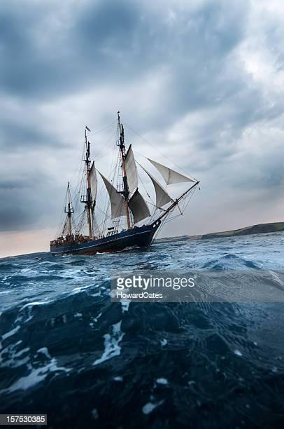 Old Tall Sailing ship off Cornwall Coast
