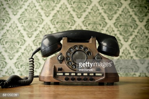 Old telephone made of copper