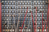 Old antique Telephone switchboard representing communications technology