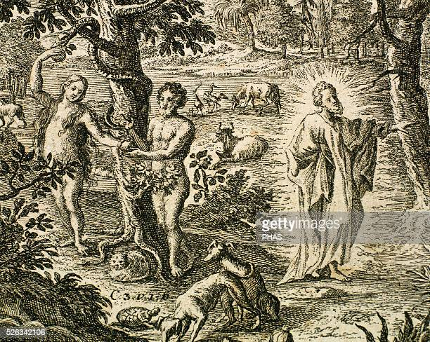 Old Testament Original sin Adam and Eve disobeying God Banishes from the Garden of Eden Engraving Book of Genesis