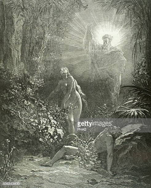Old Testament Original sin Adam and Eve disobeying God Banishes from the Garden of Eden Book of Genesis Engraving by Gustave Dore