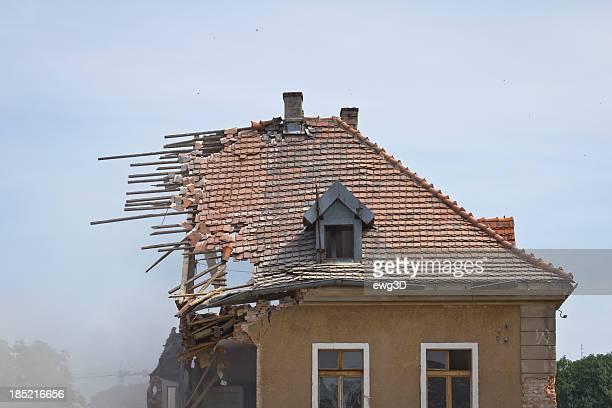 Old Tiled roof destroyed during a building demolition