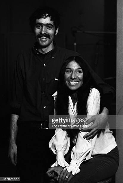 Old timey jug band singer and musician Jim Kweskin and singer songwriter Buffy SainteMarie pose for a portrait together on March 2 1966 in the...