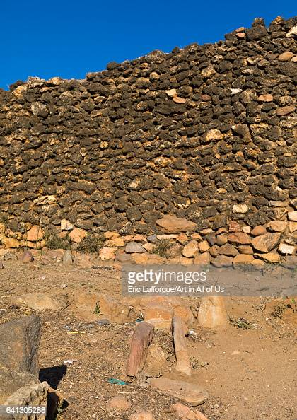 Old tombs in the street of a traditional Argoba stone houses village on January 12 2017 in Koremi Ethiopia