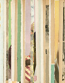 Background of old magazines in vertical torn stripes.