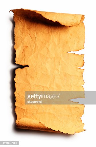 old torn scroll isolated on white