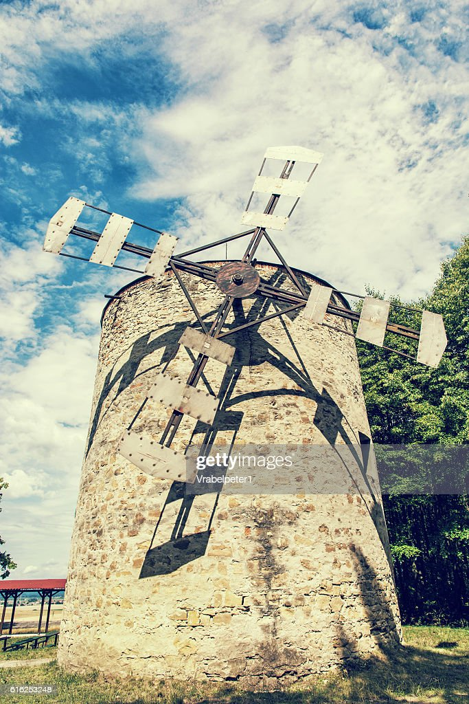 Old tower windmill in Holic, Slovakia, retro photo filter : Stock-Foto