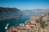 Old Town and cruise ships in Kotor Fjord