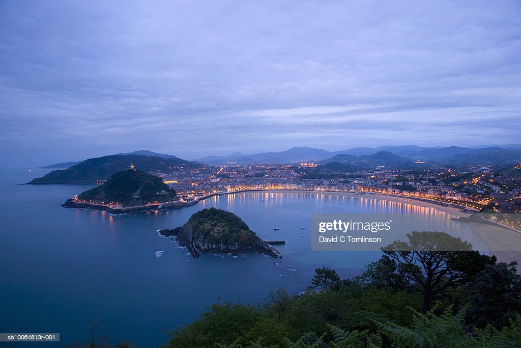 Old town at dusk, elevated view : Stock Photo