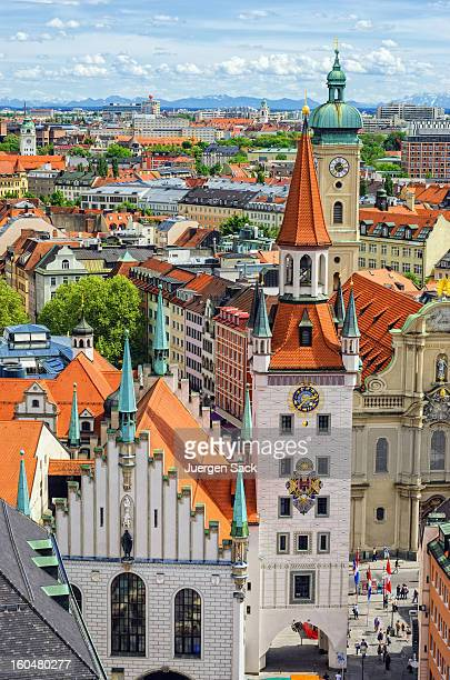 Old Town Hall (Altes Rathaus) and Cityscape Munich with Alps