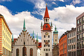 Old Town Hall on the central square Marienplatz in Munich, Bavaria, Germany
