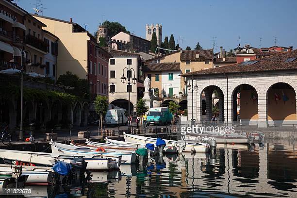 Old town harbor, Porto Vecchio, Desenzano del Garda, Lake Garda, Lake District, Lombardy, Italy