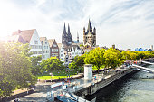 Old town in Cologne with sun