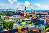 Scenic summer aerial view of the Old Town architecture in Tallinn, Estonia. See also: