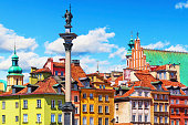 Scenic summer view of Castle Square ancient architecture with Sigismund column in the Old Town in Warsaw, Poland. See also: