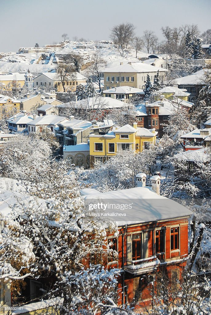 Old town of Plovdiv, covered by snow, Bulgaria