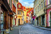 Narrow street in the old town of Tallinn, Estonia