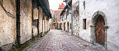 Panoramic View of St. Catherine's Passage, Old Town of Tallinn, Estonia