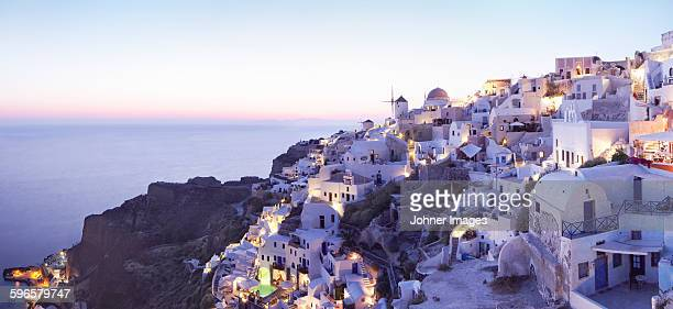 Old town on coast at dusk, Greece