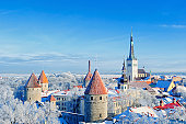 Panoramic view of the old town in the winter. Central Europe