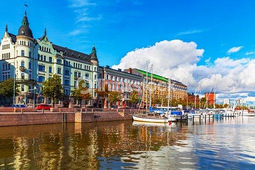 Ciudad antigua de muelle en Helsinki, Finlandia : Foto de stock