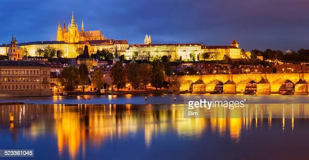 Old Town, Prague Castle, Hradcany Illuminated at Dusk, Czech Republic