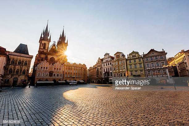 Old Town Square and Tyn Church at sunrise, Prague, Czech Republic